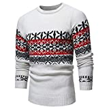 Realdo Mens Knitted Sweater Autumn Winter Pullover Print Sweatshirt Top Outwear Clearance(Large,White)
