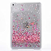 Liquid Case for Apple iPad Mini 4,Creative Design Butterfly Heart Painted Glitter Shiny Quicksand Stars Transparent Plastic Case for Apple iPad Mini 4(Heart)