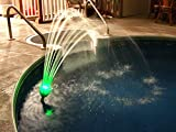 Magic Pool Fountain Water Powered! No Batteries, Solar or Power Cords Needed. Installs in Seconds. No Tools Required. Bright LED Lights That continuously Change Colors. Bulbs Last Approx. 2000 Hours.