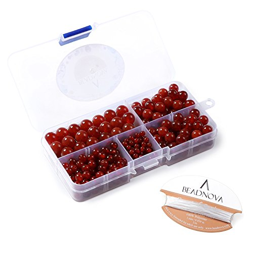 BEADNOVA 4-10mm Natural Red Agate Round Beads for Jewelry Making - Picture Agate Red