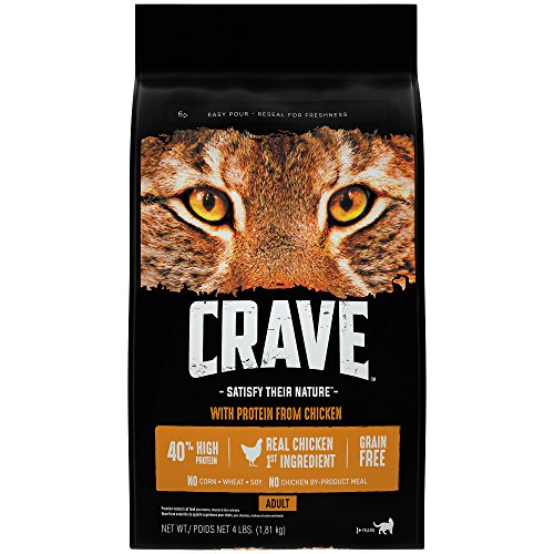 Crave Grain Free Dry Cat Food with Protein From Chicken Bag, 4 (High Protein Dry Food)