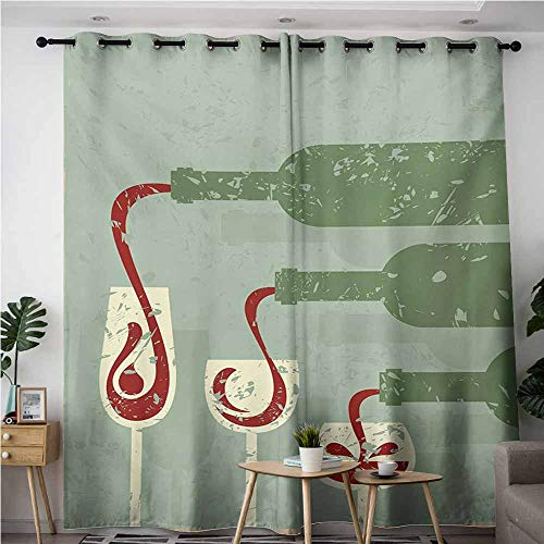 VIVIDX Curtains for Bedroom,Wine Grungy Aged Display with Wine Pouring into Glasses Stylized Retro,for Bedroom Grommet Drapes,W72x108L,Almond Green Olive Green Ruby