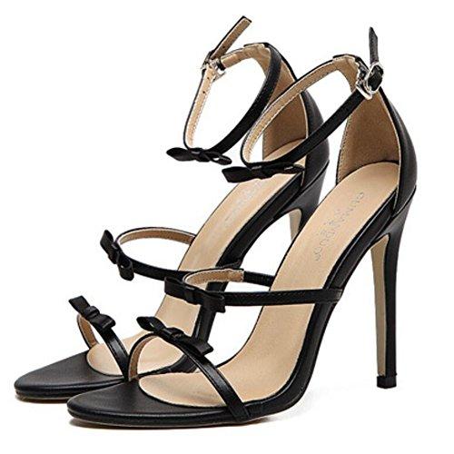 LINYI Stiletto Heels Thin Sandals Female Summer New Bow Word Open Toe High Heels Wild Women Shoes Black ar5vxJK