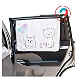 ggomaART Car Side Window Sun Shade - Universal Reversible Magnetic Curtain for Baby and Kids with Sun Protection Block Damage from Direct Bright Sunlight - Heat - and UV Rays - 1 Piece of Cat
