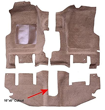 Passenger Area 8295-Medium Doeskin Plush Cut Pile With Long Console 1996 to 2006 Jeep Wrangler Carpet Custom Molded Replacement Kit