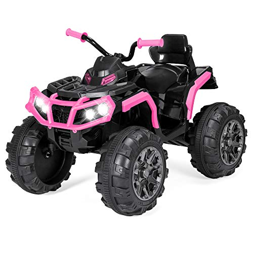 (Best Choice Products 12V Kids 4-Wheeler ATV Quad Ride-On Car Toy w/ 3.7mph Max, LED Headlights, AUX Jack, Radio - Pink)