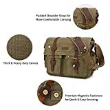 Kattee Military Messenger Bag Canvas Leather