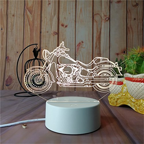 The 3D Night Light Series Home Decor For Kids Bed Room, Party Atmosphere Can Output 7Colors Remote Control Nightlight Base Can Attach Diffierent 3D Display Borard (Display Board-Harley Davidson WLA) Harley Davidson Desk Lamp