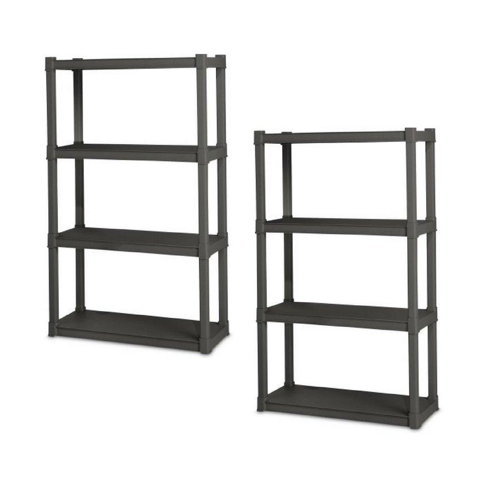 Sterilite 4 Shelf Unit, Flat Gray - Pack of 2