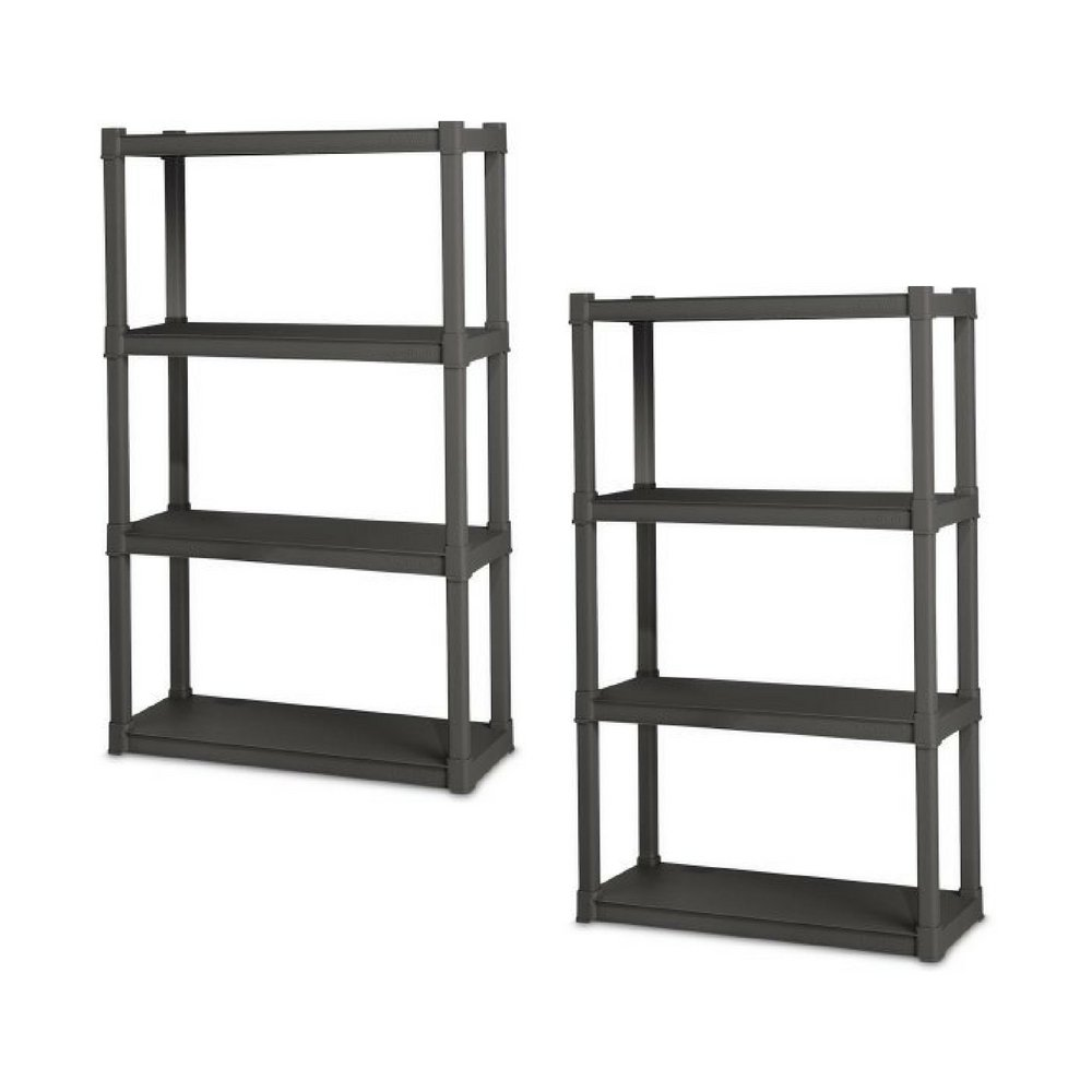 Sterilite 4 Shelf Unit, Flat Gray - Pack of 2
