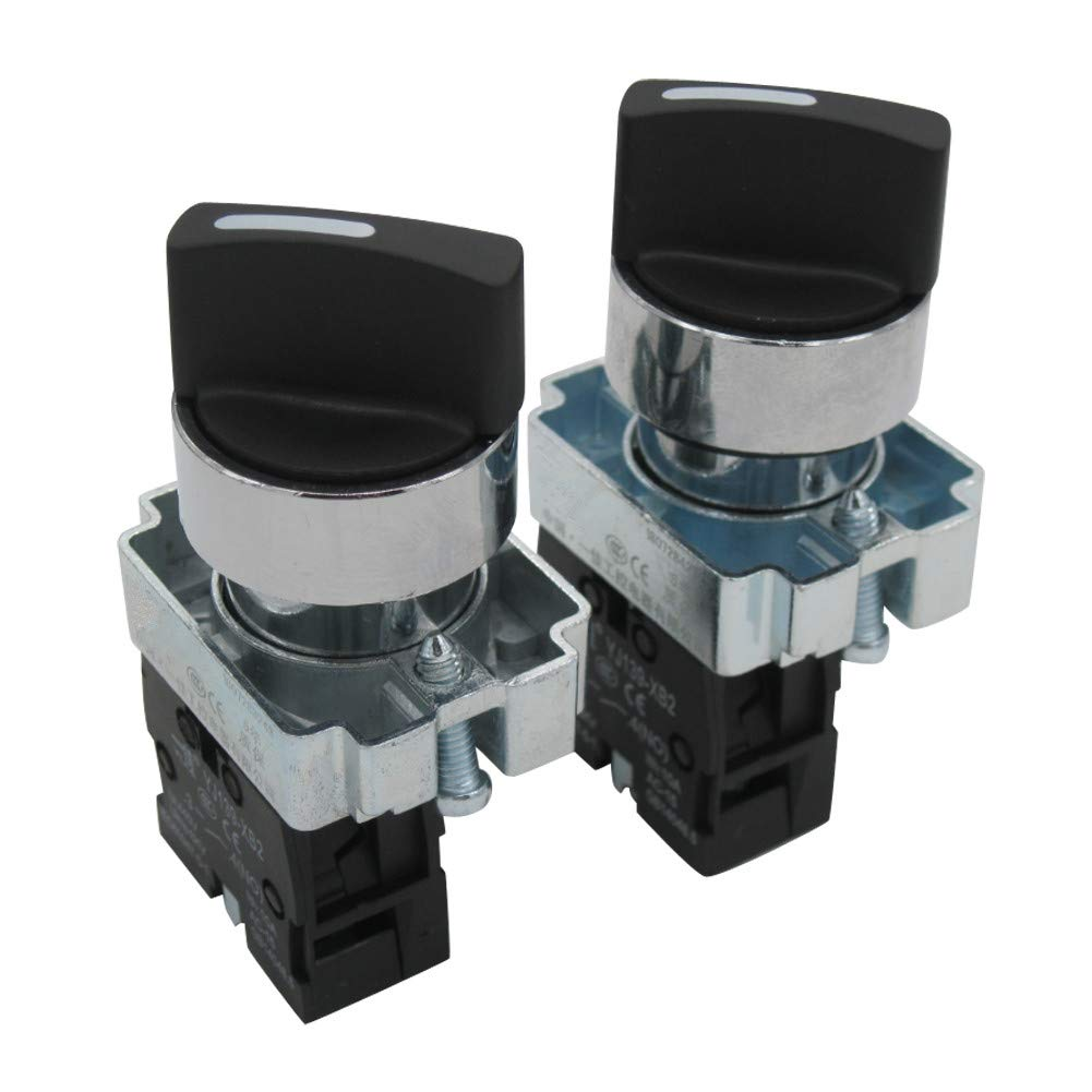 TWTADE / 2Pcs 22mm SPST 1 NO Two 2 - Positions Maintained Latching Rotary Select Selector Switch 440V 10A (Quality Assurance for 3 Years) BX2-10X