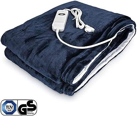 Navaris manta eléctrica XXL - Colcha 180x130CM con termostato - Manta térmica con regulador 3 niveles - Lavable en lavadora - Blanca y azul