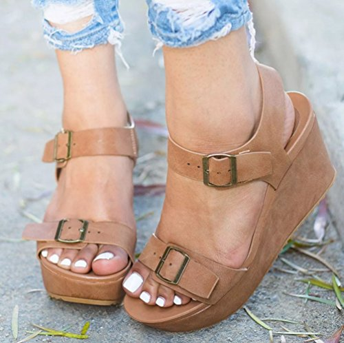Peep Wedge Womens Straps Wedges Buckle Bushnell Huiyuzhi Toe Ankle Sandals Open Brown Platform fn1WdqvxO