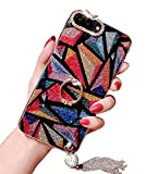 iPhone 6 Plus/6s Plus Case, Luxury Hybrid Bling Glitter Diamond Soft Silicone Gel Rubber Beauty Shiny Sparkling Cute Protective Cover Case for Girls with Ring Stand Holder (Triangle)