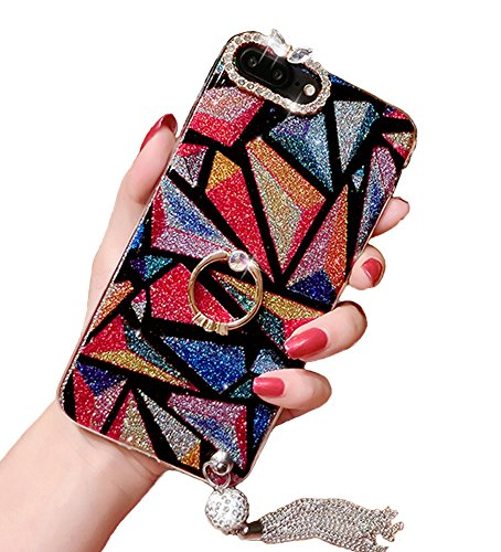iPhone X Case, Luxury Hybrid Bling Glitter Diamond Soft Silicone Gel Rubber Beauty Shiny Sparkling Cute Protective Cover Case for Girls with Ring Stand Holder (Triangle, iPhone X)