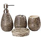 ICEGREY 4 Piece Line Textured Ceramic Soap Dish, Soap Dispenser, Toothbrush Holder & Tumbler Set Dark Brown