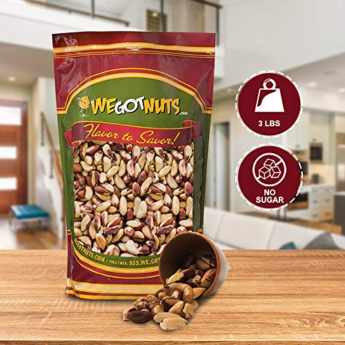 Raw Brazil Nuts- 3 Pounds,(48oz) Superior To Organic - Natural, Whole, Unsalted, Shelled , No Preservatives, Kosher Certified- Natural, Fresh, Healthy Diet Snacks for Kids and Adults-by We Got Nuts 4