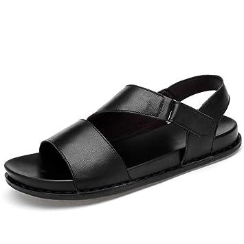 Sandalias y Zapatillas de Cuero en Espiga para Hombres, Chanclas para Hombre, Sandalias Casuales