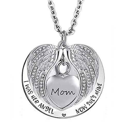 LoEnMe Jewelry Urn Necklace for Ash Cremation Mom Love Heart Angel Wing Crystal Pendant Memorial Keepsake
