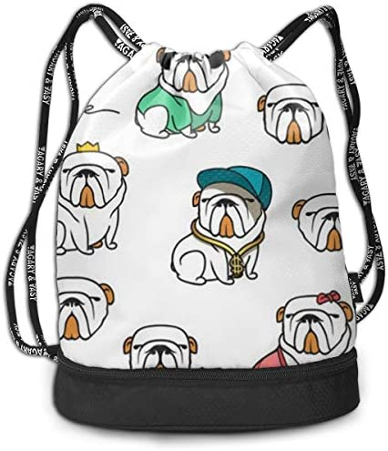 ビーム口バックパック ジッパー巾着袋 多機能 パグ 犬柄 ビーム袋 ナップサック 収納ポーチ バッグ 引きひも袋 大容量 リュックサック ナップサック 耐久性 シューズ収納 旅行バック スポーツ 内ポケット付 乾湿分離