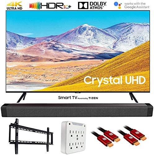 "SAMSUNG UN55TU8000 55"" 4K Ultra HD Smart LED TV (2020 Model) w/Deco Gear Soundbar Bundle"