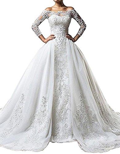 Holygift Detachable Train Wedding Dress Mermaid Bridal Dresses For 2018 HY182