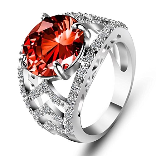 Simulated Ruby Cocktail Ring (Women's Halo Round Cut Created Red Ruby Solitaire Ring Vintage Chevron Cubic Zirconia Simulated July Birthstone Crystal Statement Cocktail Ring Size 9)