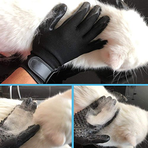 CASFANSTA Pet Grooming Glove, Gentle Pet Deshedding Glove for Dogs, Cats, Horses Effective Pet Hair Remover Brush Massage Gloves -1 Pair by CASFANSTA (Image #3)