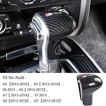 MAXMILO Carbon Fiber Sline Gear Shift Knob Cover Sticker Head Trim for Audi A4 A5 A6 S6 A7 S7 Q5 Q7