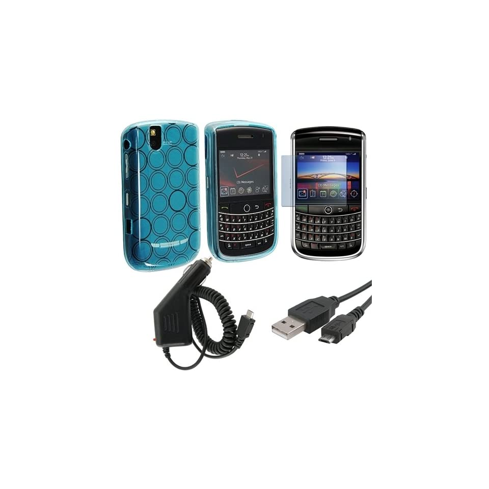 eForCity Clear Blue Circle TPU Flexi Rubber Skin + Usb Cable + Car Charger + Lcd Protector For Blackberry 9630