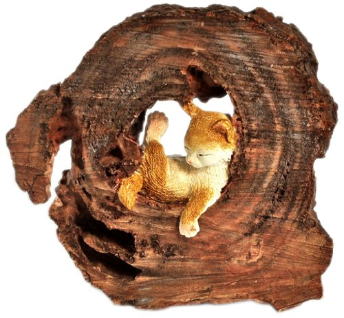 Top Collection Enchanted Story Garden Kitten Napping in Tree Trunk Outdoor Decor Review