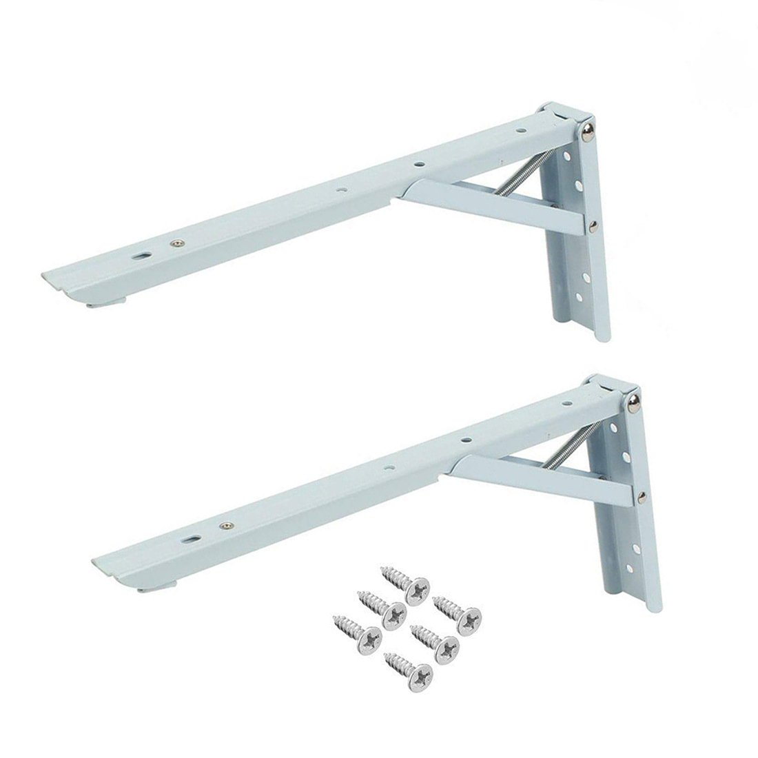 Rannb 2Pcs 12 inch Spring Loaded Sturdy Folding Shelf Support Brackets Short Release Arm with Screws for Work Bench Table