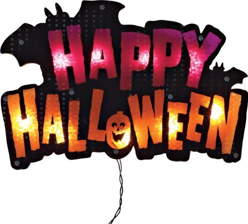 Impact 16'' Lighted ''Happy Halloween'' Sign Window Silhouette Decoration by Impact Innovations