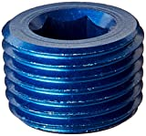 "Aeroquip FCM3685 Blue Anodized Aluminum 1/8"" NPT Allen Head Pipe Plugs - Pack of 2"