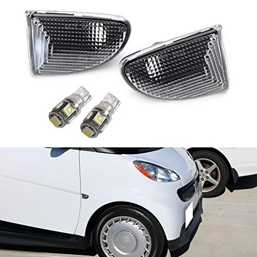 Side Euro Marker Front Clear (iJDMTOY Euro Clear Lens Amber LED Bulb Front Side Marker Light Kit For 2007-15 Smart Car Fortwo, Replace OEM Sidemarker Lamps)