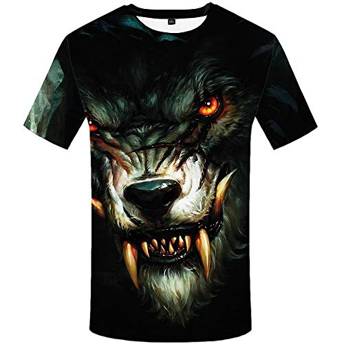Animal Adult Black T-shirt - KYKU Wolf Shirt for Men Funny Tshirts Animal T Shirt Adult 3D Pattern Shirts (Medium)