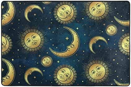 U Life Vintage Sun Moon Stars Galaxy Doormats Area Rug Runner Floor Mat Pad Cover for Entryway Indoor Home Living Room Bedroom Kitchen Office 31×20 inch or 2.6×1.6 Feet