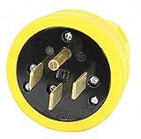 50A Industrial Grade Dust Tight Straight Blade Plug, Yellow; NEMA Configuration: 14-50P