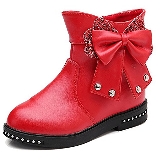 YING LAN Girls Sweet Bowknot Glitter Flats Princess Party Ankle Boots (Toddler/Little Kid/Big Kid) Red 29 by YING LAN