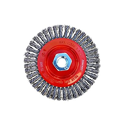 "Taipan Abrasives TO-3002 Original Stringer Bead Twist Knot MS Wire Wheel Brush, 0.020"" Wire, 5"" Dia, 5/8""-11 Arbor, 3/16"" Face Width, 15000 RPM"