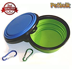 Petbulk Collapsible Dog Bowl, 2 Pack Food Grade Silicone BPA Free FDA Approved, Foldable Expandable Cup Dish for Pet Cat Food Water Feeding Portable Travel Bowl Free 43