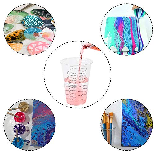 Resin DEPEPE 80 Pack 8oz Disposable Measuring Cups Clear Plastic Graduated Epoxy Mixing Cup with 80 Pack Wooden Stirring Sticks for Mixing Paint Stain Epoxy