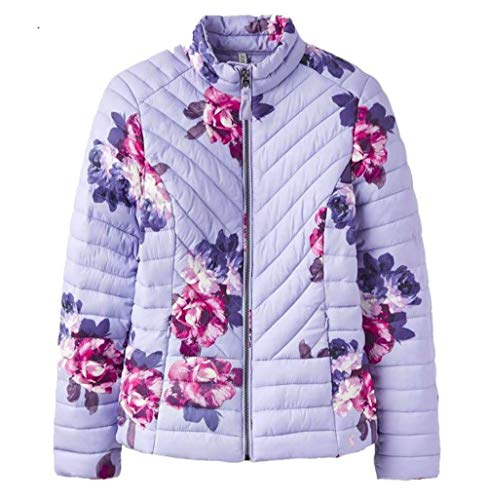 Womens Quilted Winter Joules Dusk Jacket Grey Floral Chevron Fitted Elodiepnt 7qffx4Tnv