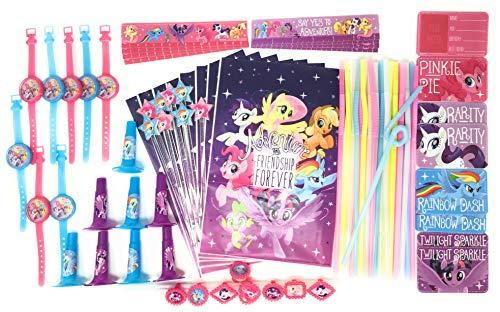 My Little Pony Party Supplies Favor Pack MLP Loot Bag Fillers Goodie Bags Bundle with Cool Change Fun Flex Color Changing Straws