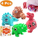 4 Pack Dinosaur Stress Relief Toys, Funny Anti-Stress Mesh Ball Grape Squeeze Sensory Toys Stress Relief Fidgets Ball for Anxiety Kids & Adults Play Vent Toys Party School Travel Birthday Gift