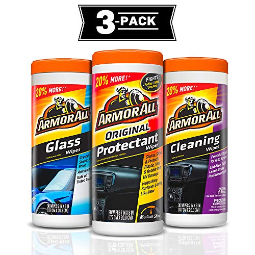 Armor All Car Interior Protectant and Glass Cleaner Wipes - Cleaning for Cars & Truck & Motorcycle