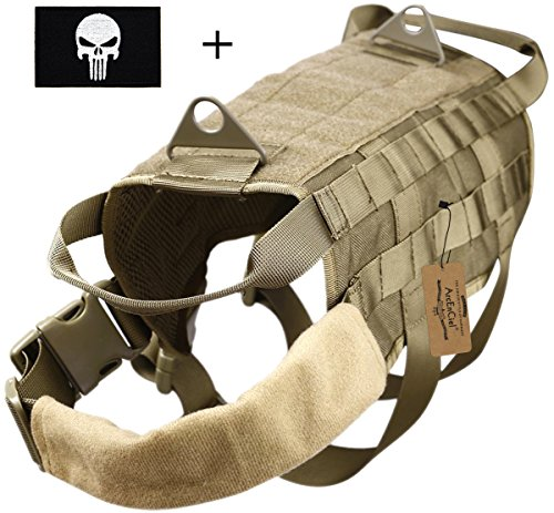 ArcEnCiel Army Tactical Dog Training Molle Vest Harness - Camo Dog Backpack