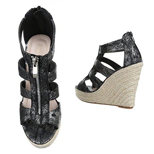 pour Schwarz Ital Femme Sandales Design w8FPxwqvOa