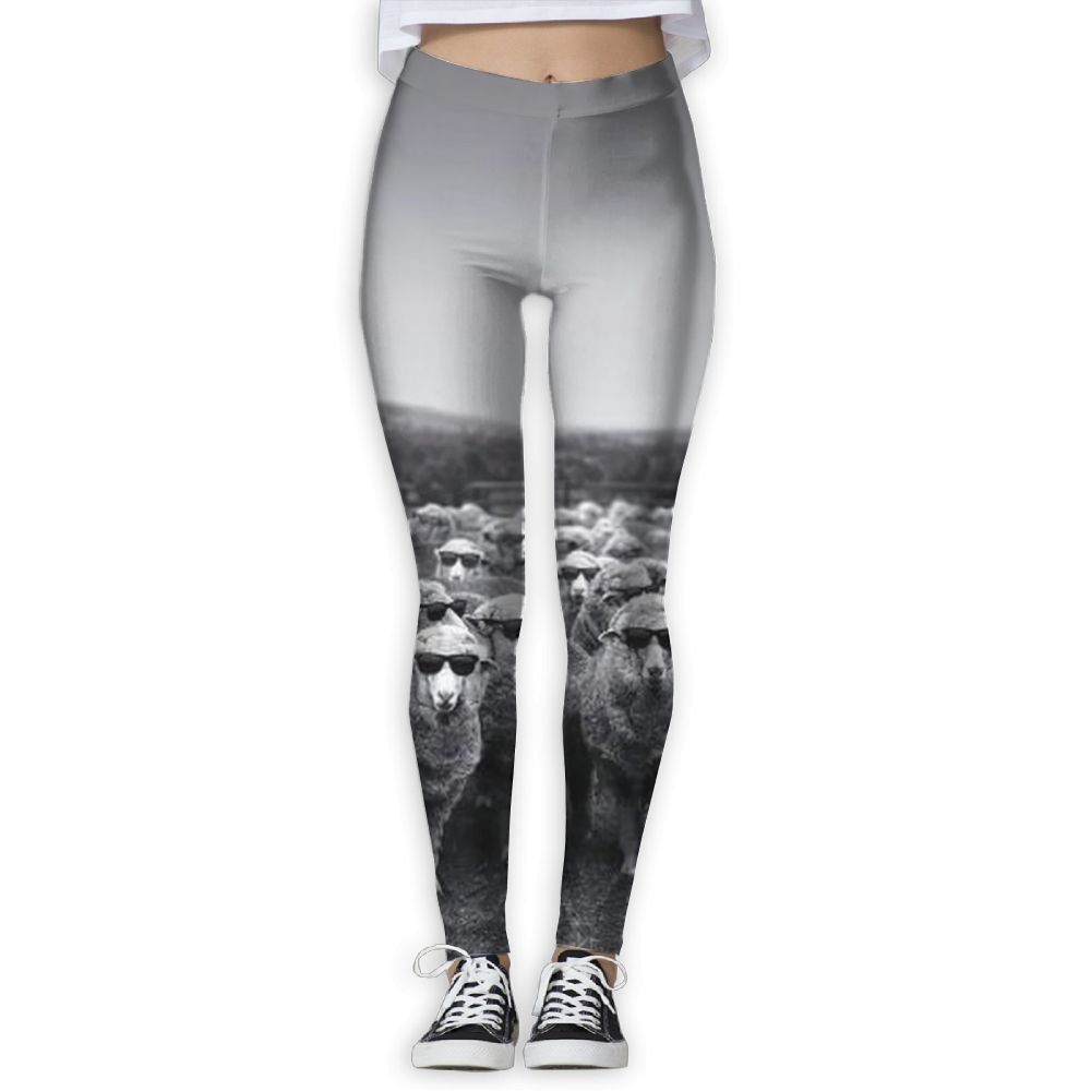 KGDSCA Glasses Sheep Printing Compression Leggings Pants Tights for Women S-XL