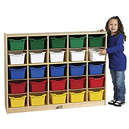 Image of ECR4Kids Birch 12 Cubbie Tray Cabinet with Scoop Front Bins, Assorted Colors Baby